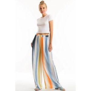 Pants - Rainbow Palazzo Pants Tie Dye Stripe Blue Mix